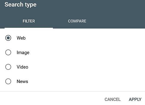 Filter by Search type