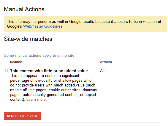 Google Penalty Example