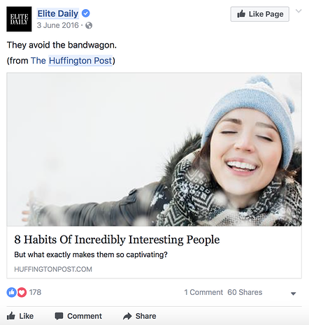 Elite Daily promoting Huffington Post