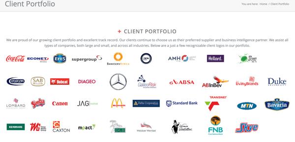 Sample client portfolio