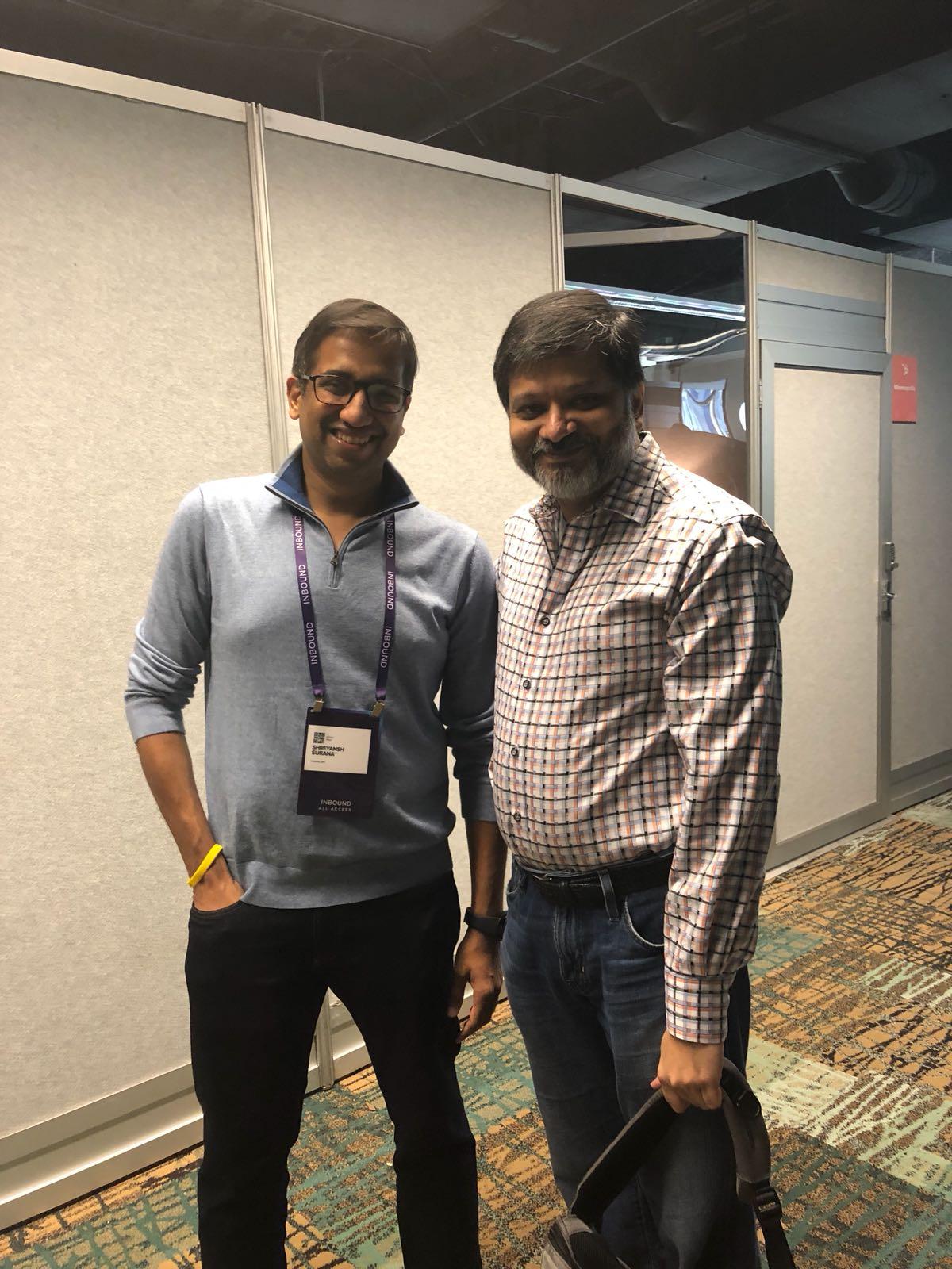 Shreyansh with Dharmesh Shah at Inbound 2018